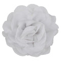 "White - 3"" Silky Chiffon Rose Flower"