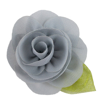 "Gray - 2"" Chiffon Blossom Flower with Leaf"