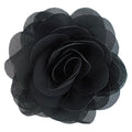 "Black - 3"" Silky Chiffon Rose Flower"
