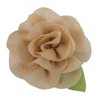 "Tan - 2"" Chiffon Blossom Flower with Leaf"