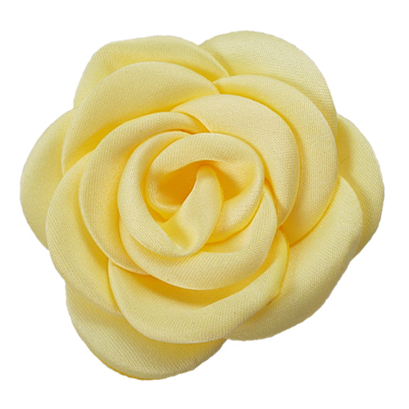 "Light Yellow - 2.25"" Satin Petal Rose"