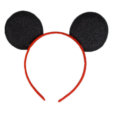 "Black + Red - 2.75"" Glitter Mouse Ears Headband"