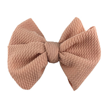 "Dusty Peach - 4"" Bullet Fabric Messy Bow"