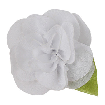 "White - 2"" Chiffon Blosom Flower with Leaf"