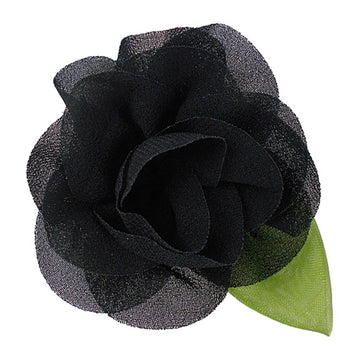 "Black - 2"" Chiffon Blossom Flower with Leaf"