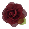 "Wine - 2"" Chiffon Blossom Flower with Leaf"