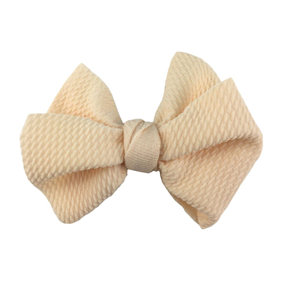 "Cream - 4"" Bullet Fabric Messy Bow"