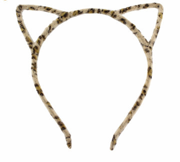 Tan Leopard - Fuzzy Cat Ears Headband
