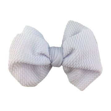 "White - 4"" Bullet Fabric Messy Bow"
