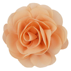 "Coral Peach - 3"" Silky Chiffon Rose Flower"