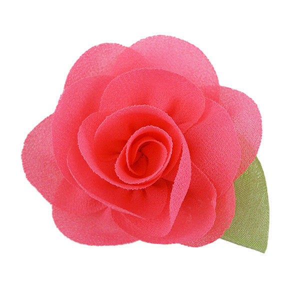 "Neon Pink - 2"" Chiffon Blossom Flower with Leaf"