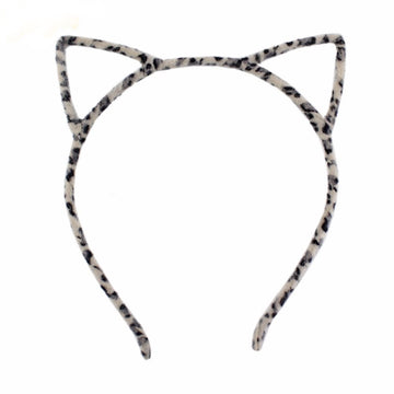 Ivory Leopard - Fuzzy Cat Ears Headband