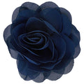 "Navy Blue - 3"" Silky Chiffon Rose Flower"