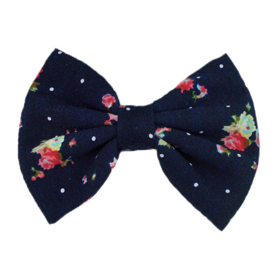 Navy Blue Floral - XL Jersey Knit Bow