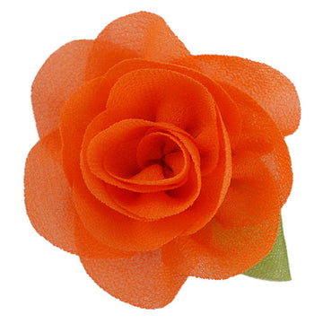 "Orange - 2"" Chiffon Blossom Flower with Leaf"