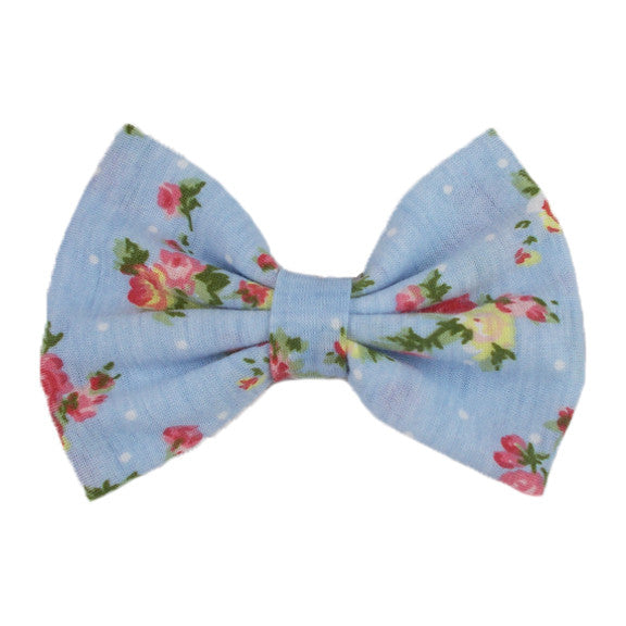 Light Blue Floral - XL Jersey Knit Bow