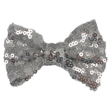 "Silver - 4"" Sequin Bow"
