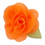 "Neon Orange - 2"" Chiffon Blossom Flower with Leaf"