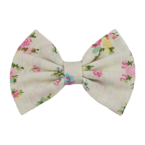 Cream Floral - XL Jersey Knit Bow