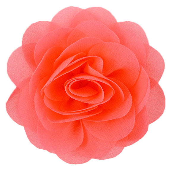 "Neon Coral - 3"" Silky Chiffon Rose Flower"