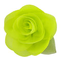 "Chartreuse - 2"" Chiffon Blossom Flower with Leaf"