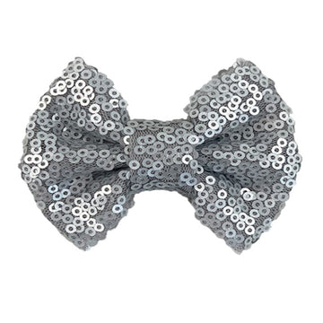 "Gray Matte - 4"" Sequin Bow"