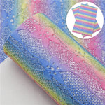 Moonglow - Ombre Floral Lace - Fine Glitter Canvas Fabric Sheet