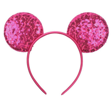 "Hot Pink -  3.25"" Sequins Mouse Ears Headband"