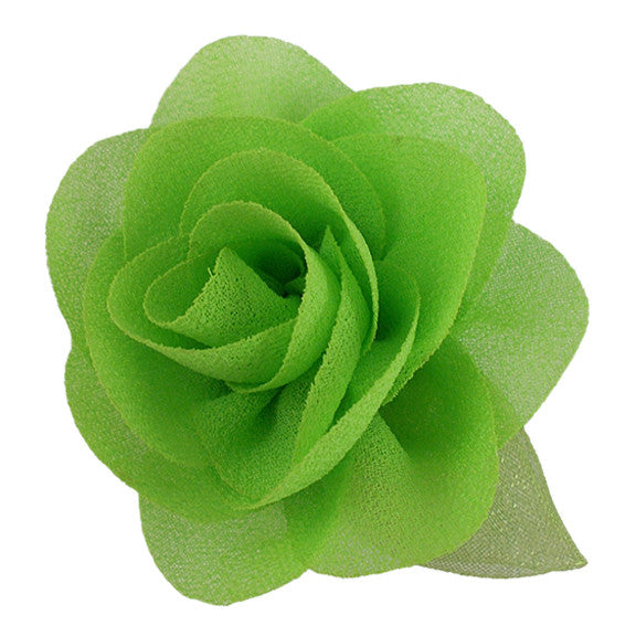 "Lime Green - 2"" Chiffon Blossom Flower with Leaf"