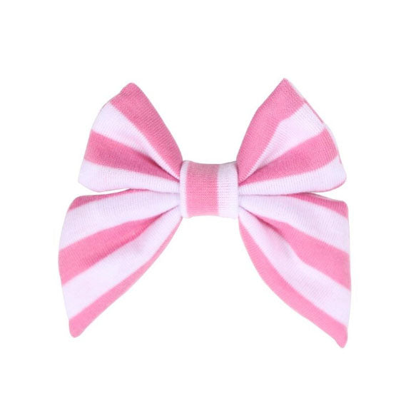 "Pink + White Stripe - 3"" Jersey Sailor Bow"