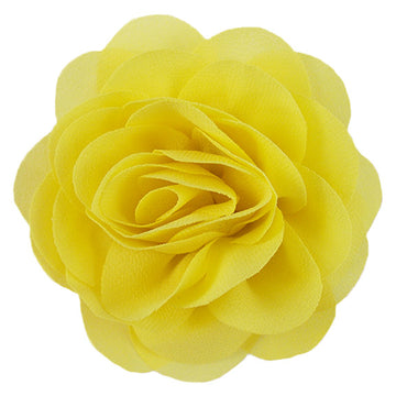"Yellow - 3"" Silky Chiffon Rose Flower"