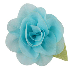 "Aqua - 2"" Chiffon Blossom Flower with Leaf"