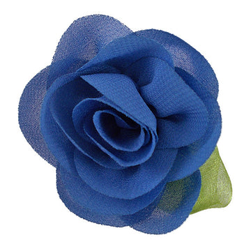 "Denim Blue - 2"" Chiffon Blossom Flower with Leaf"