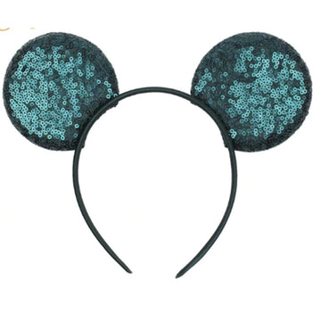 "Emerald Green -  3.25"" Sequins Mouse Ears Headband"