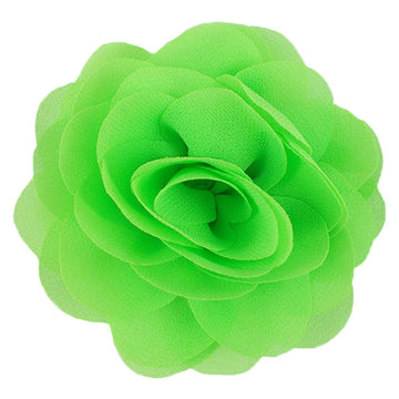 "Neon Green - 3"" Silky Chiffon Rose Flower"