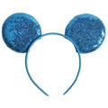 "Blue -  3.25"" Sequins Mouse Ears Headband"