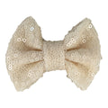 "Cream Matte - 4"" Sequin Bow"