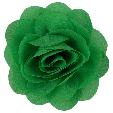 "Green - 3"" Silky Chiffon Rose Flower"