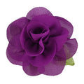"Purple - 2"" Chiffon Blossom Flower with Leaf"
