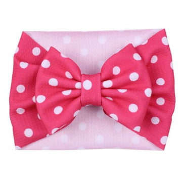 Hot Pink + White Dot - Liverpool Bow Headwrap