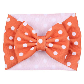 Orange + White Dot - Liverpool Bow Headwrap
