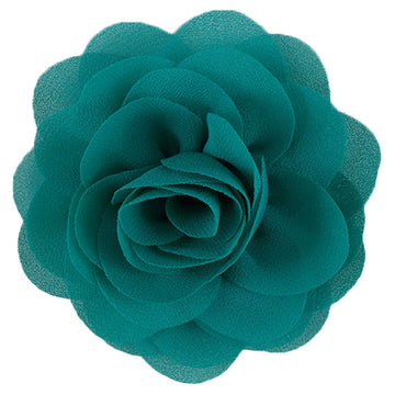 "Teal - 3"" Silky Chiffon Rose Flower"
