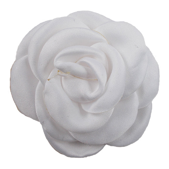 "White - 2.25"" Satin Petal Rose"