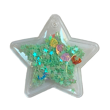 "Mint Confetti Shells + Stars - 2.5"" Star w/ Hole"