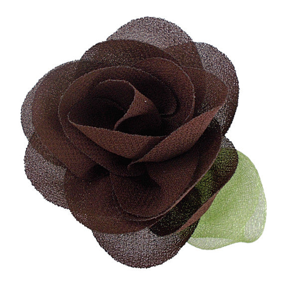 "Brown - 2"" Chiffon Blossom Flower with Leaf"