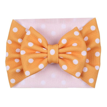 Golden Yellow + White Dot - Liverpool Bow Headwrap
