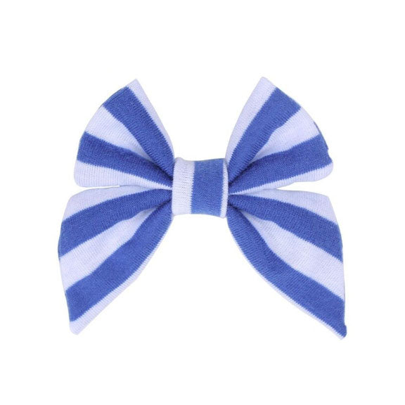 "Royal Blue + White Stripe - 3"" Jersey Sailor Bow"