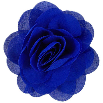 "Royal Blue - 3"" Silky Chiffon Rose Flower"