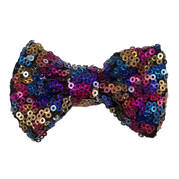 "Rainbow on Black - 4"" Sequin Bow"