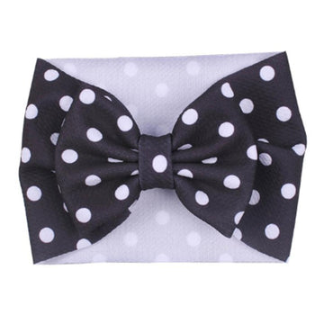 Black + White Dot - Liverpool Bow Headwrap